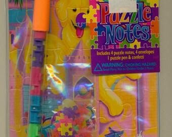 SALE Lisa Frank Puzzle Notes Sandcastle Puppies Notepaper Pen Stickers Confetti