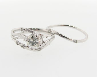 Cherry Blossom Branch Wedding Set, Diamond & White Gold
