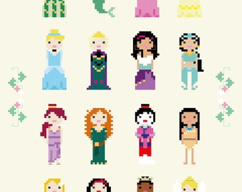 Disney Princess Cross Stitch Pixel Sampler - PDF Pattern