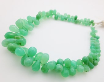 Chrysoprase Gemstone Faceted Briolettes - Qty 45