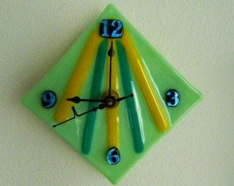 Triangulation,  Fused Glass Wall Clock, Original Art Piece, CG18