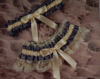 Charcoal Gray Pale Yellow Satin Lace Wedding Bridal Garter Toss Set