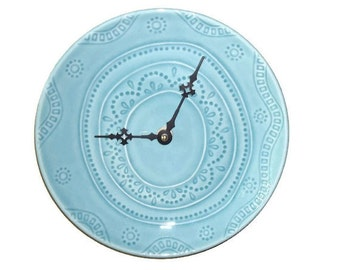 Plate Wall Clock / Boho Wall Clock / Wall Decor / Kitchen Clock / Home and Living / Turquoise Teal Home Decor / Gift Idea 1978