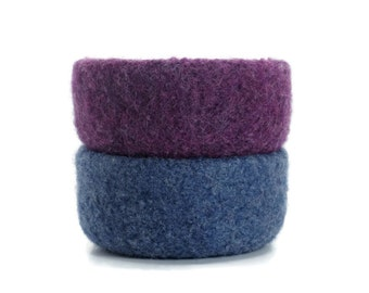 Felt Bowls Set Of 2 Purple Blue Back to School Knitted Felted Baskets Containers Soft Storage Desk Organizer Ring Dish Student Kids