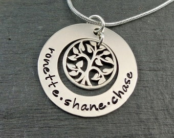 Tree of Life Hand Stamped Personalized Necklace