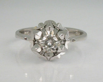 Vintage Diamond Engagement Ring 18K - 0.16 Carat Solitaire Unique Dome Top - 18K White Gold