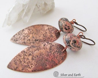 Hammered Copper Earrings, Leopard Skin Jasper Earrings, Natural Stone Jewelry, Metal Earrings, Artisan Metalwork Jewelry, Boho Chic Jewelry