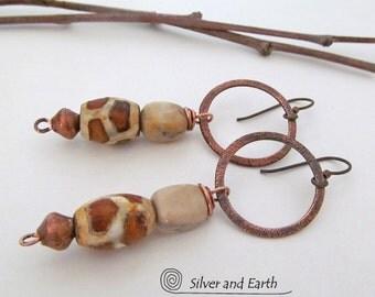 Gypsy Hoop Earrings, African Earrings, Copper Earrings, Earthy Bohemian Tribal Jewelry, Boho Chic Earrings, Exotic Ethnic Tribal Earrings