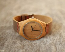 Men Wooden Watch with Genuine Leather Strap, Groomsmen Gift, Bamboo Watch, Minimalist Watch, Modern Watch, Wood Watch, Gift for Him