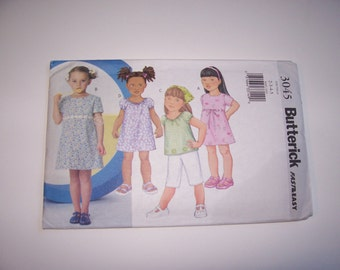 Butterick Pattern 3045  -  Childrens/Girls Dress  - Top  - Capri Pants  -  Sizes 2-3-4-5 -  4.00  -  Very Easy