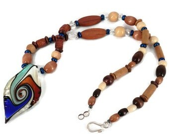 Beaded Necklace & Earrings, Blue and Brown Necklace, Murano Style Glass Pendant