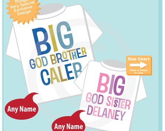 Personalized Big God Brother and Big God Sister Shirt or Onesie set of 2 (04072015j)