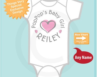 Girl's Personalized PopPop's Baby Girl with Pink Heart Onesie or Tee Shirt (12292014b)