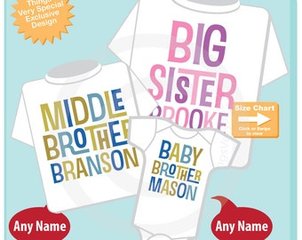 Boys and Girls Set of Three, Personalized Big Sister Middle Brother and Baby Brother Shirt or Onesie Pregnancy Announcement (04242015b)