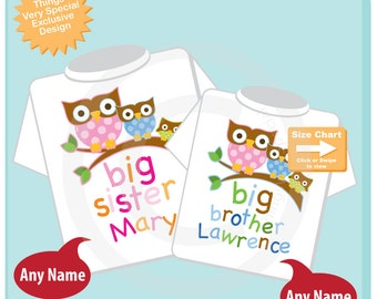 Set of Two Big Sister and Big Brother Shirt Set Personalized with Three Owls Unknown gender Baby Owl (04302012f)