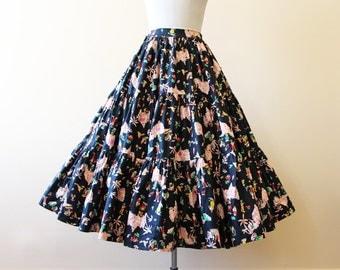 50s Skirt - Vintage 1950s Novelty Print Skirt - Black Colorful Mexican Village Cotton Full Skirt w Sequins XS S - Sabado