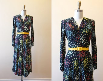 1940s Dress - Vintage 40s Dress - Black Colorful Floral Print Bias Cut Cold Rayon Swing Dress M - Mary Mary