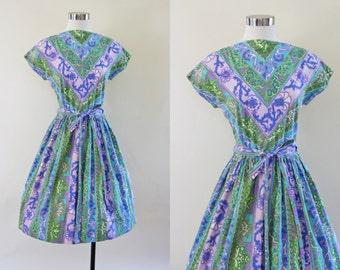 50s Dress - Vintage 1950s Dress - Olive Aqua Purple Floral Cotton Full Skirt Wrap Dress M L - Maze of Flowers