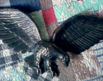 Vintage Cast Aluminum Eagle with Spread Wings Wall Hanging