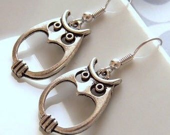 Groovy Owl Earrings, Adorable Antiqued Silver Plated Owl Charms, Silver Plated Earrings - Jewelry