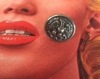 Eagle silver  vintage button ring