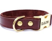 "One Inch Personalized Leather Dog Collar with side release buckle By RuggitCollars(with buckle engraving)Available in sizes 14""-24"""