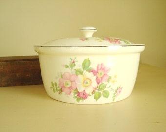 Paden Bak-Serve covered baker, Serve & Store covered casserole, 1930s platinum trim, cottage pink florals, vintage kitchen ware, film prop