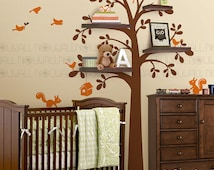 Shelving Tree with Birds & Squirrels birdhouse Wall Decal Wall sticker ,Children, Baby, Kids, nursery wall decals