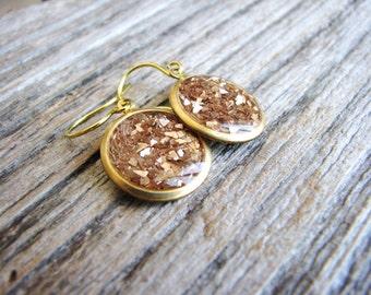 Glitter Earrings, Gold Earrings, Gold Drop Earrings, Simple Minimalist Earrings