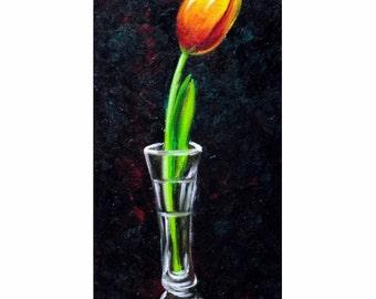 Tulip Painting,  Flower Painting, Original Oil Painting, Flower in Vase, Crystal Vase, Red Tulip, Helen Eaton