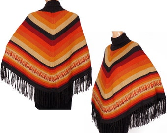 Vintage 1970s Striped Wool Poncho