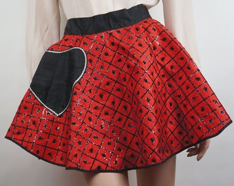 Vintage 1950s Apron Red Taffeta with Black Flocking & Sparkles