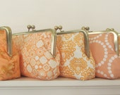 Personalized Bridesmaid Gift - Clutch Purse  - Peach  Wedding Party Gift -  Customize Your Cutiegirlie clutch with your choice of fabrics