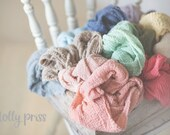 Newborn Wraps, RUSTIC WRAPS , Baby Wraps Cheesecloth Wraps - PICK 5- Photography Prop, Newborn Photo Prop