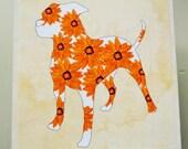 American Bulldog Art Block - Large Dog Art Block- Rustic Finish- Watercolor Flower Dogs- Home Decor- Nursery Decor- Dog Wall Art- Milk Paint