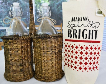 Making Spirits Bright Wine Tote - Recycled Canvas Wine Bag - Hand-Stenciled Ecobag - Housewarming Gift Bag - Hand-painted Gift