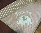 Handmade Baby Boy Quilt Elephant Quilt Baby Blue Gray Dot Gingham Personalized Made To Order Modern Baby Quilt