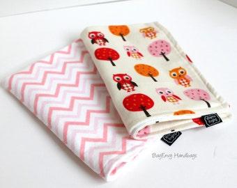 BagEnvy Handbags'  Burp Cloths -  Set Of 2  - Woodland Owls and Pink Chevron Or Custom Design Your Own