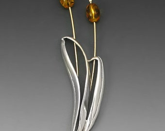 Cattails Sterling Silver and Gold-Fill Pin, Amber
