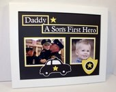 Daddy Father Son Picture Frame - A Son's First Hero Police Theme - Deluxe 11x14 Frame Included - You Choose Frame color