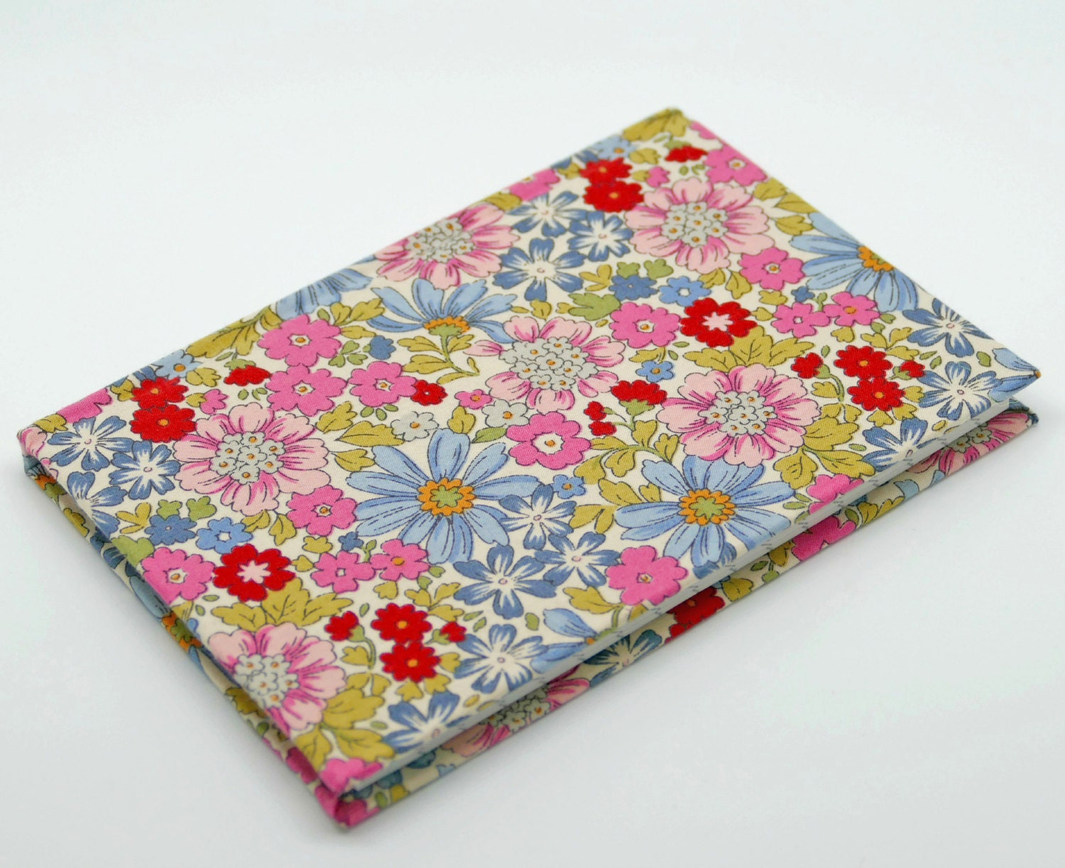 Fabric Hardcover Book : Fabric covered notebook lined notepad floral book hardback
