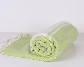 Towel Green White,Turkish Bath Towel... NEW Peshtemal