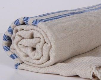 Bath Towel / Beach Towel , Turkish Bath Towel...Linen - Cotton PESHTEMAL Cream-Blue
