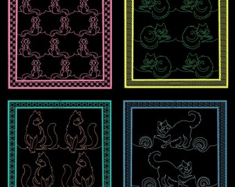 KITTY QUILTING BACKGROUNDS - 30 Machine Embroidery Designs Instant Download 4x4 5x7 6x10 hoop (AzEB)