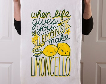 Flour sack tea towel with Limoncello screen print