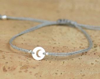 Moon charm  bracelet-Sterling silver