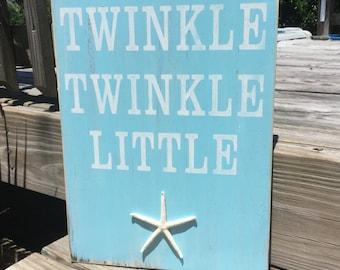 Beach Nursery Sign Twinkle Twinkle Starfish Nautical Coastal Decor