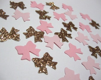 Itty Bitty Confetti Shapes -100 pieces - Bow/Ribbon - Pinks/Glitter- Choose glitter color - Black/Gold/Silver/Champagne/Brown/Pink/Fuchsia