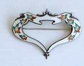 1910s art nouveau sterling white enamel large sash pin / antique Edwardian silver enamel autumn leaves brooch