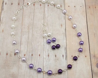 Necklace and Earring Set - Shades of Purple 2 - Glass Pearls with Silver - Violet - Lavender - White - Ombre